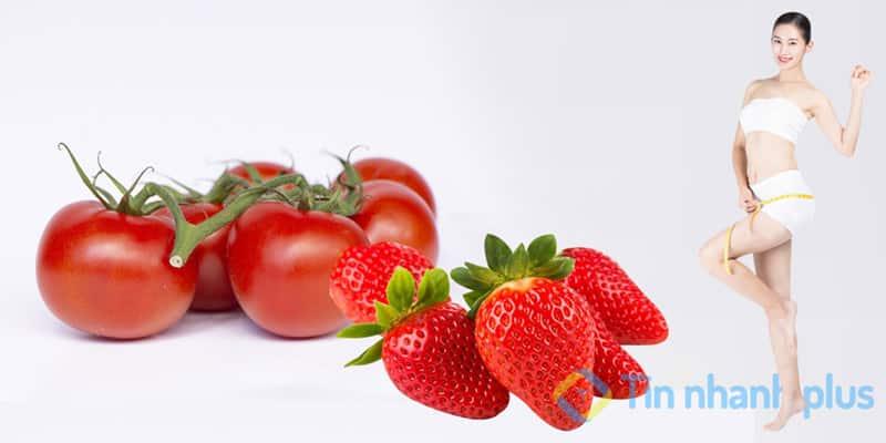 giảm cân nhanh bằng ăn cà chua và dâu tây