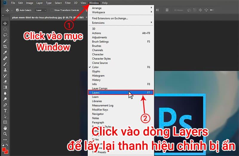 cách lấy lại layers bị ẩn trong Photoshop
