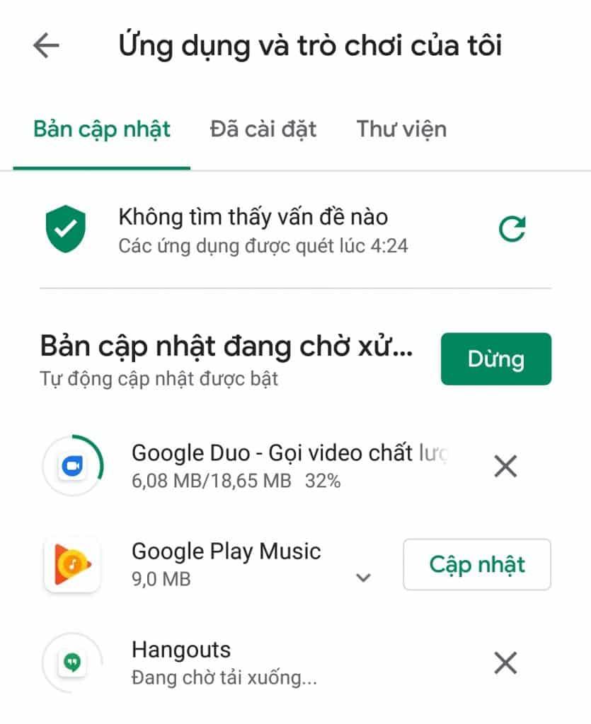 lỗi cập nhật ứng dụng Ch Play
