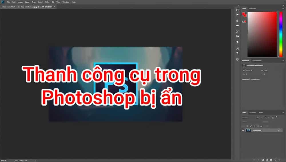 thanh công cụ photoshop bị ẩn