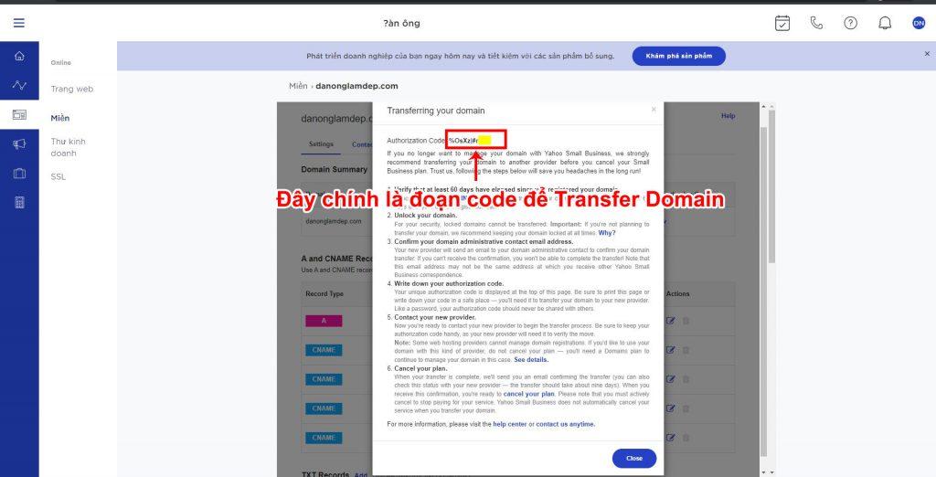 hướng dẫn transfer tên miền yahoo