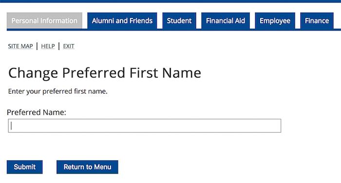 thay đổi preferred first name