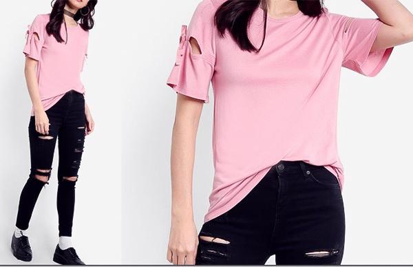 áo hồng quần bò rách