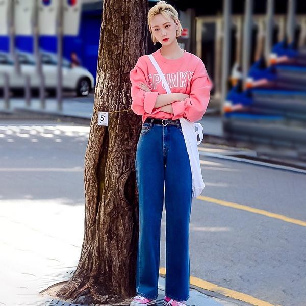 áo hồng quần jean