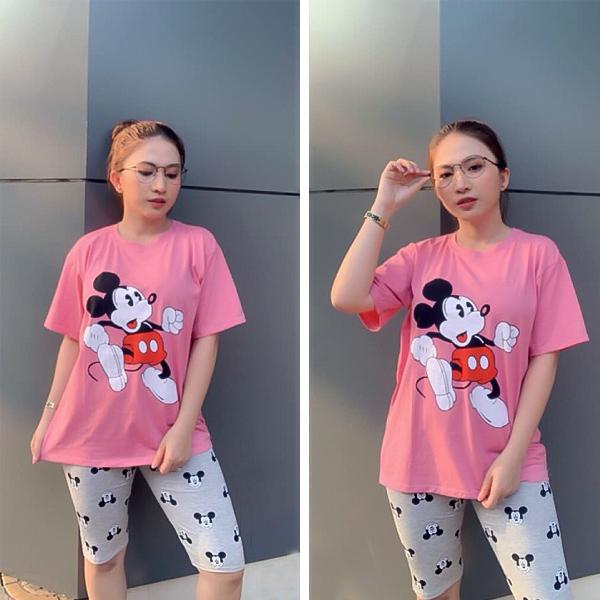 áo hồng quần ngố