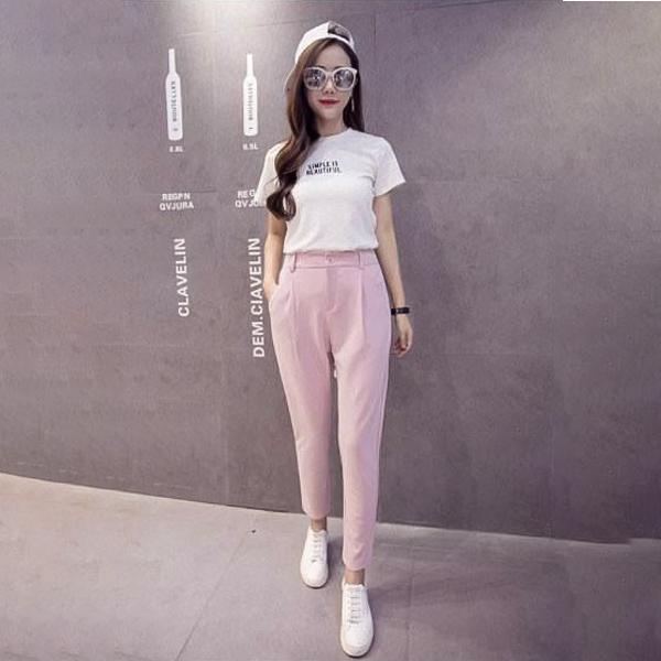 áo trắng quần hồng