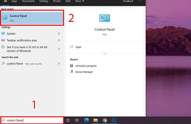 cách mở control panel bằng máy tính