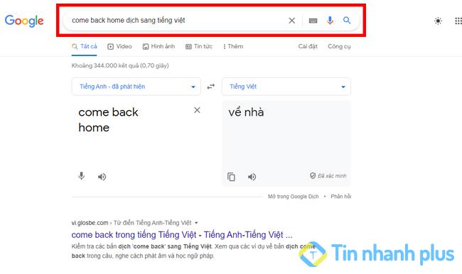 dịch tiếng anh bằng thanh tìm kiếm của google