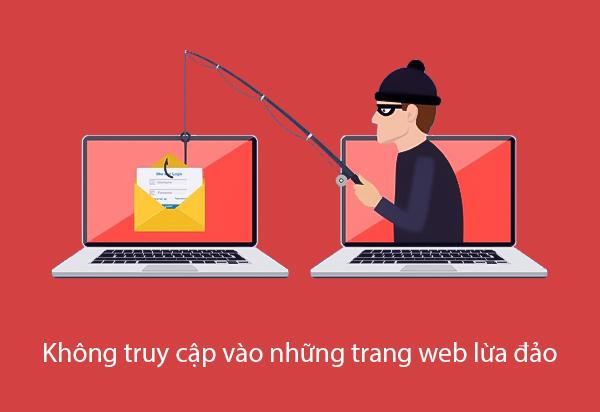 không truy cập vào trang web lừa đảo
