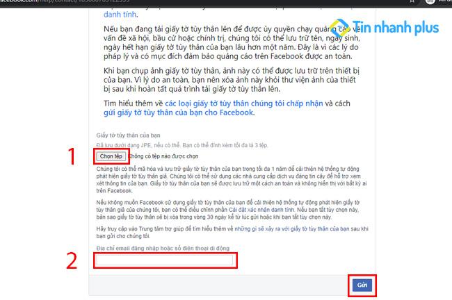 lấy lại mặt khẩu facebook bằng chứng minh thư thẻ căn cước