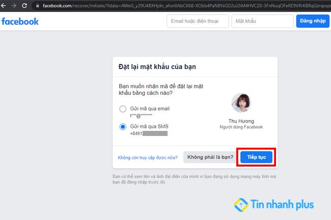 nhận mã xác nhận từ facebook bằng số điện thoại
