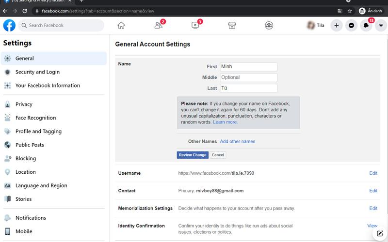 thay đổi tên facebook khi bị cấm