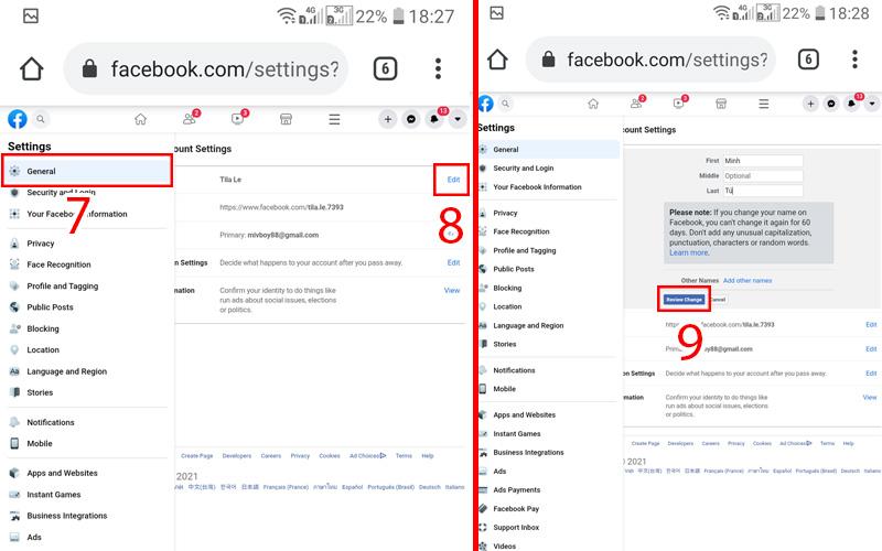 thay đổi tên facebook khi chưa đủ 60 ngày trên điện thoại