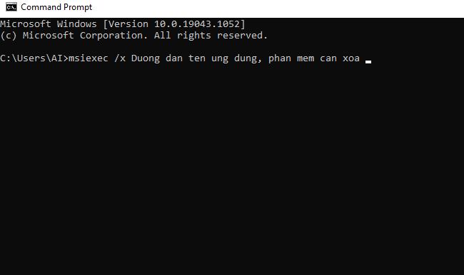 xóa phần mềm bằng Command Prompt
