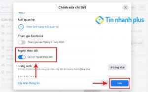 cách bật số người theo dõi facebook trên máy tính