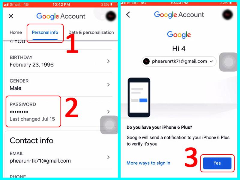 cách thay đổi mật khẩu gmail trên iphone