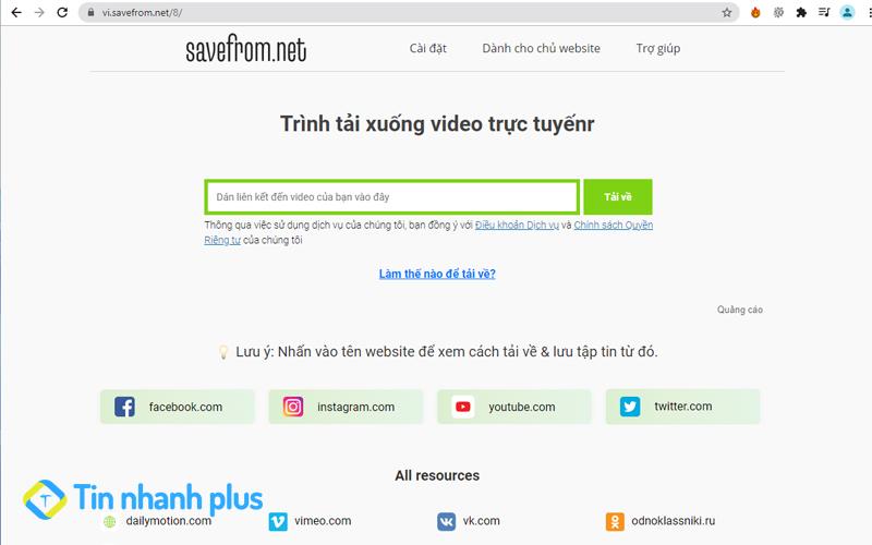 tải video về máy tính bằng savefrom