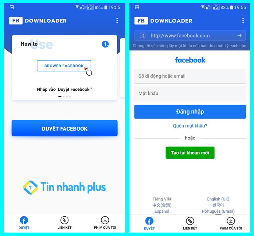 tải video facebook về điện thoại bằng fbdownload