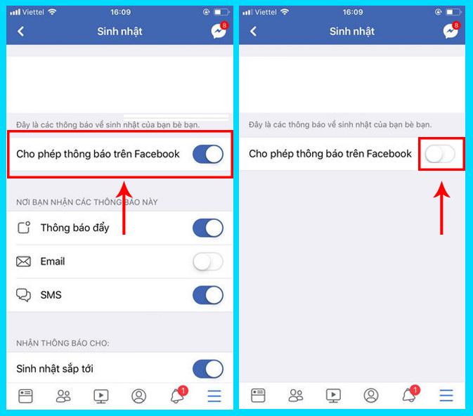 tắt thông báo sinh nhật trên facebook bằng iphone, ipad
