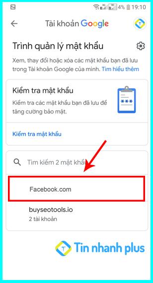 cách xem mật khẩu facebook bằng smart lock