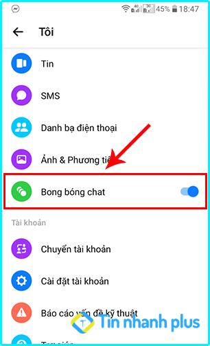 cách bật bong bóng messenger