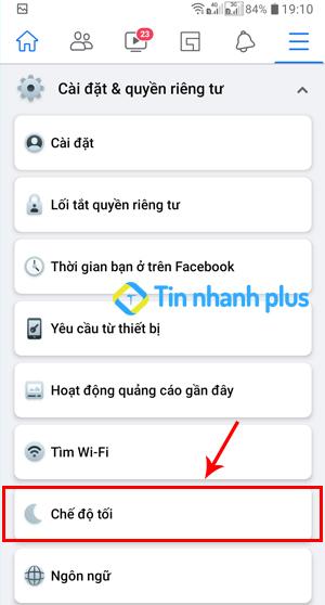 cách bật facebook dark mode trên điện thoại android