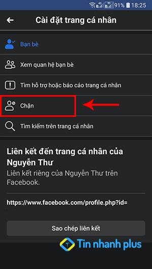chặn facebook người khác trên điện thoại