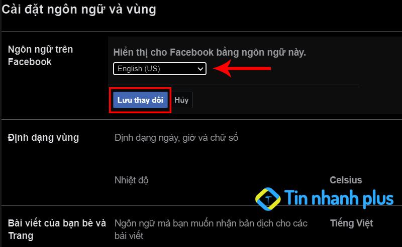 hướng dẫn chuyển ngôn ngữ facebook trên pc