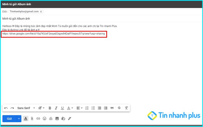 gửi ảnh dung lượng lớn bằng gmail