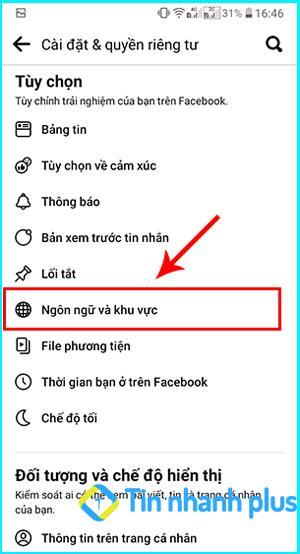 chuyển ngôn ngữ facebook trên điện thoại android