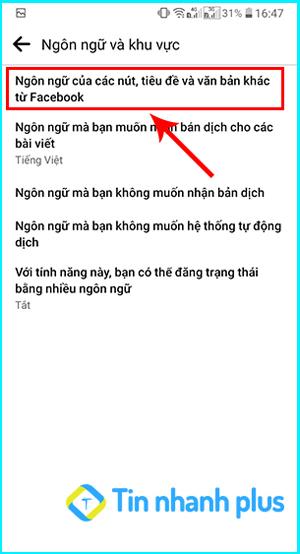 hướng dẫn chuyển ngôn ngữ facebook trên smartphone
