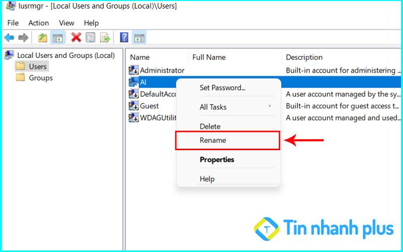 hướng dẫn cách đổi tên user bằng lệnh run
