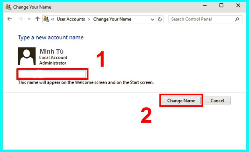 cách đổi tên user bằng control panel
