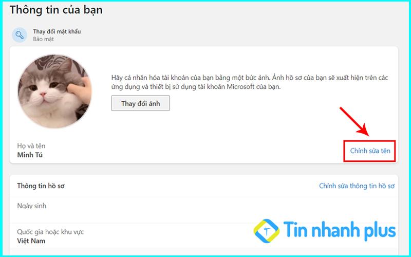 đổi tên user win 11 bằng tài account microsoft