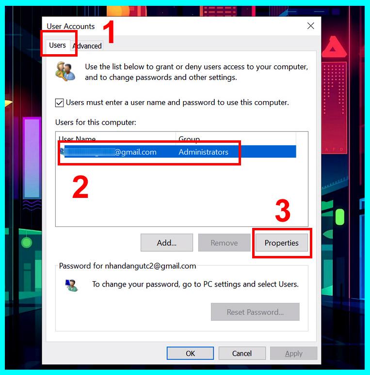 hướng dẫn đổi tên user win 10 bằng Netplwiz