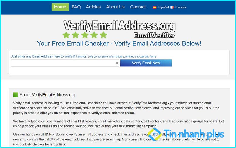 hướng dẫn kiểm tra email có tồn tại không bằng Verifyemailaddress