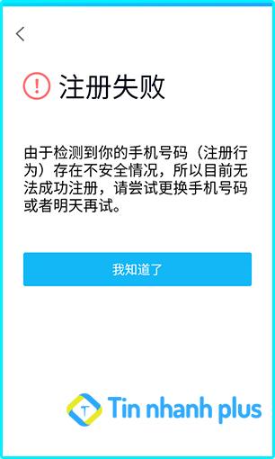 lỗi không đăng ký được tài khoản qq