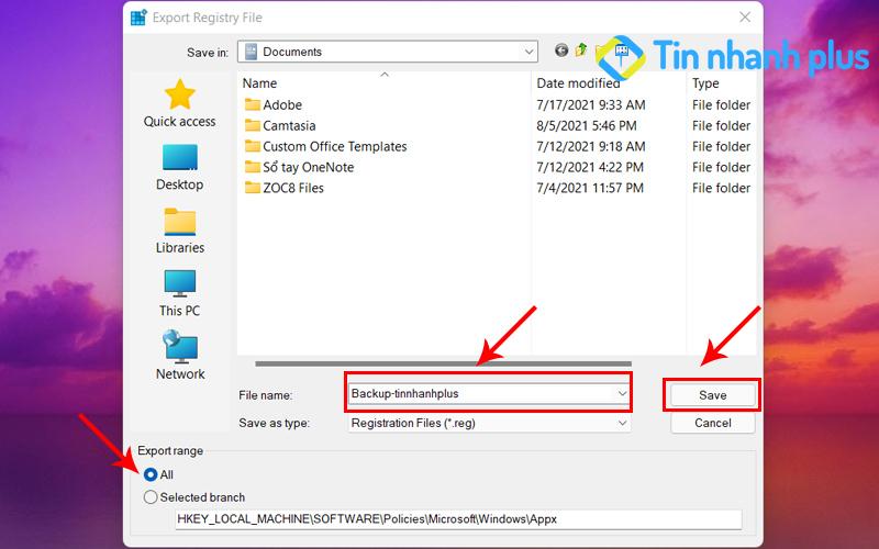 Registry Editor để tắt thông báo