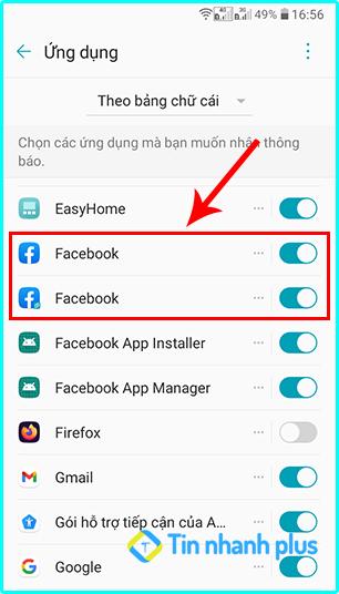 bật thông báo trên ứng dụng facebook bằng điện thoại