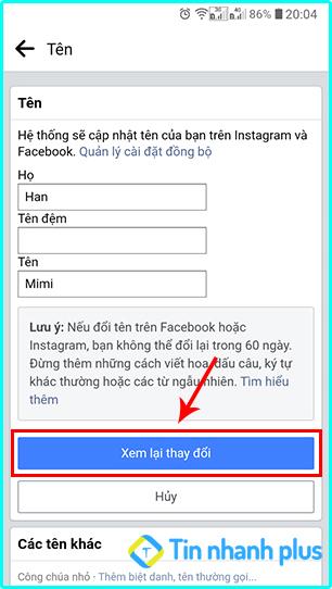 cách đổi tên trên facebook không phải là tên thật