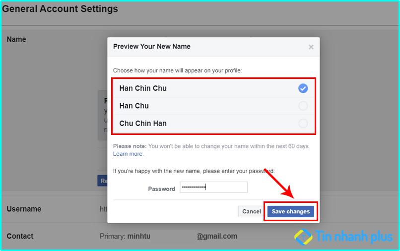 cách đổi tên trên Facebook không phải tên thật
