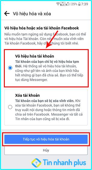 cách vô hiệu hóa facebook bằng điện thoại android