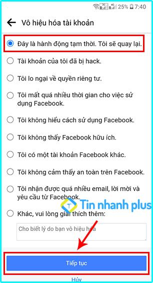 lý do vô hiệu hóa facebook điện thoại android