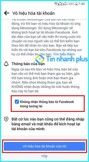 khóa tài khoản facebook trên android