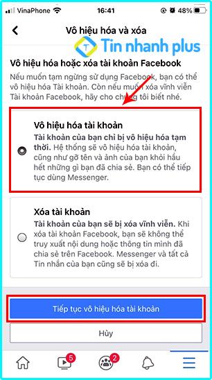 vô hiệu hóa tài khoản facebook trên iphone