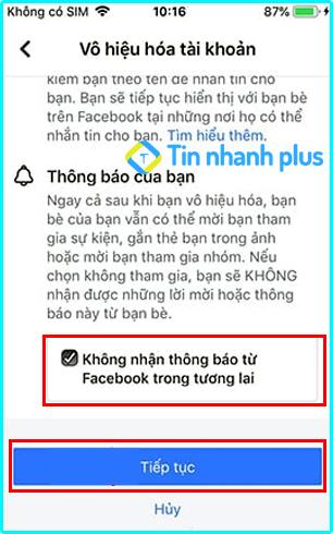 cách vô hiệu hóa facebook trên iphone
