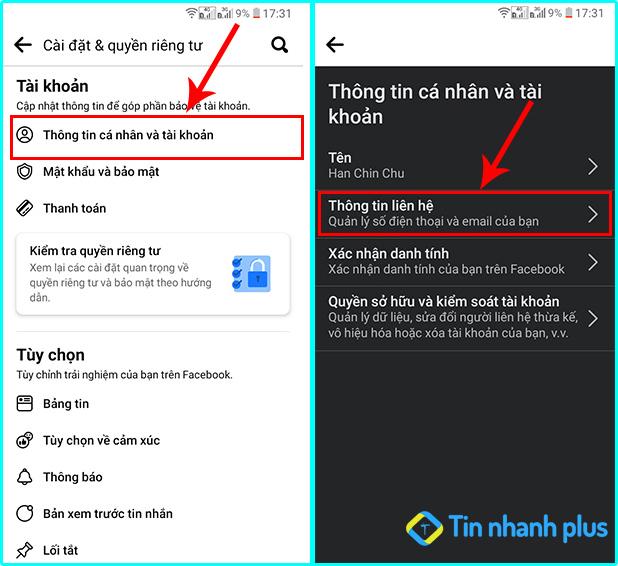 thay đổi email facebook trên smartphone