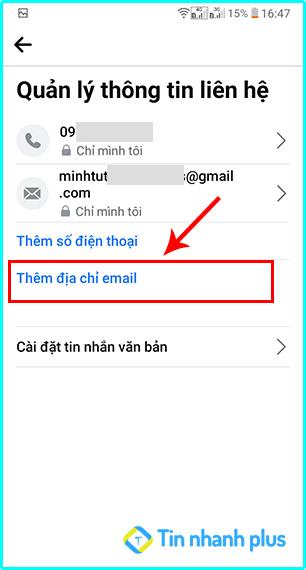 cách thêm địa chie email trên điện thoại
