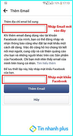 thêm mới email trên facebook