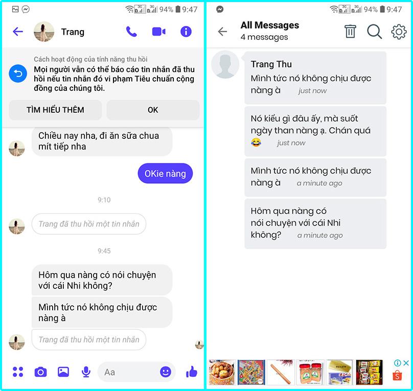 cách xem tin nhắn đã thu hồi trên messenger bằng smartphone